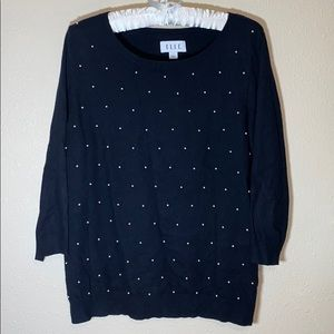 Elle Black Sweater With Faux Pearl Embellishments